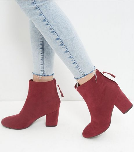 Dark Red Suedette Block Heel Boots | New Look