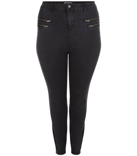 Curves Black Multi Zip Skinny Jeans | New Look