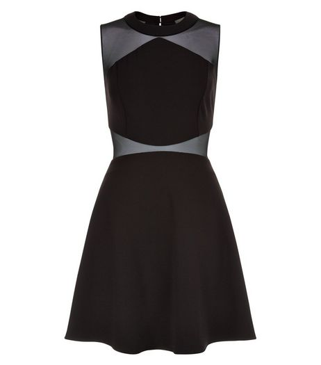 Black Mesh Panel Sleeveless Skater Dress  | New Look