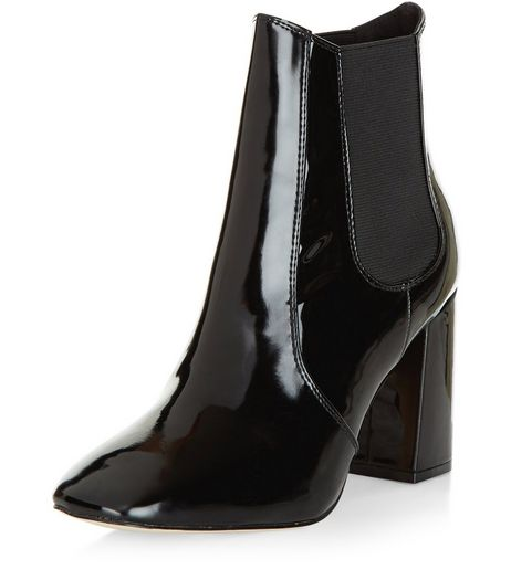 Black Patent Block Heel Chelsea Boots | New Look
