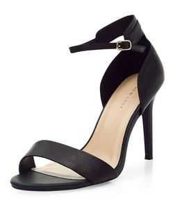 Black Leather Ankle Strap Heels  | New Look