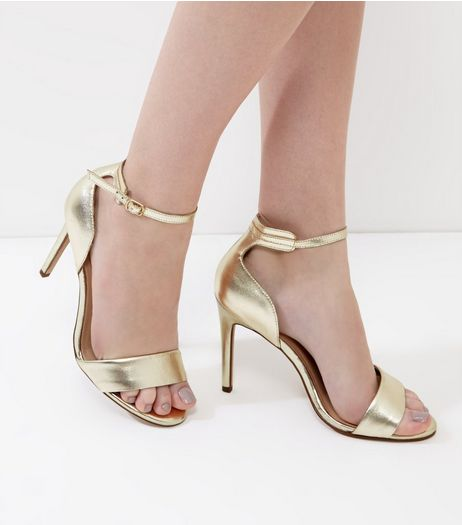 Gold Metallic Leather Ankle Strap Heels | New Look