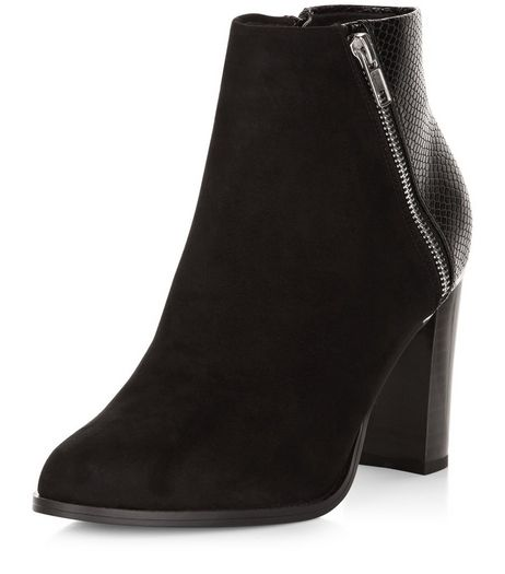 Black Snakeskin Texture Panel Block Heel Boots  | New Look