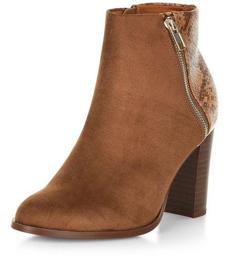 Camel Snakeskin Texture Panel Block Heel Boots  | New Look