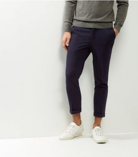 Navy Slim Cropped Trousers | New Look