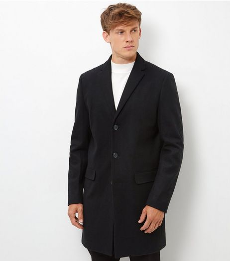Black Wool Mix Longline Overcoat  | New Look