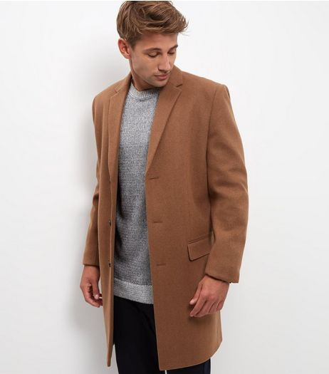 Camel Wool Mix Longline Overcoat | New Look