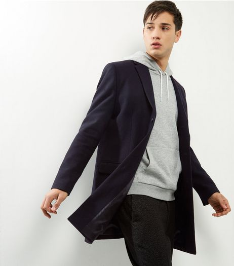 Navy Wool Mix Longline Overcoat | New Look