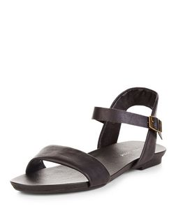 Black Leather-Look Ankle Strap Sandals  | New Look