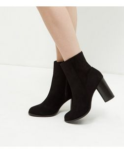 Black Suedette Block Heel Ankle Boots  | New Look