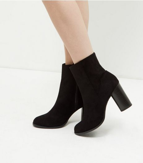 Black Suedette Cylindrical Heel Ankle Boots  | New Look