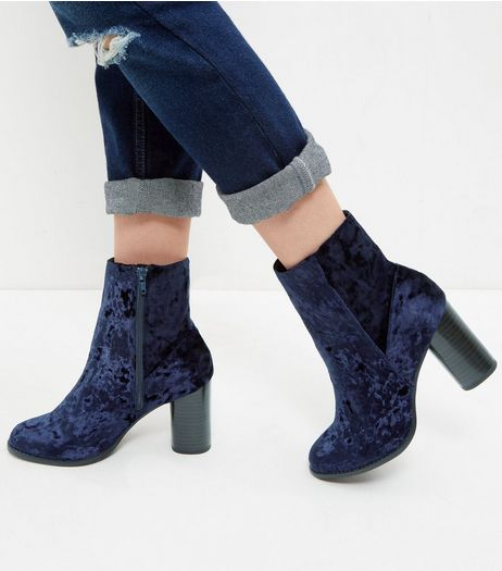 Navy Velvet Block Heel Ankle Boots  | New Look