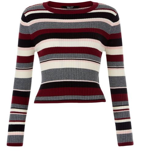 Teens Red Stripe Crew Neck Cropped Jumper | New Look