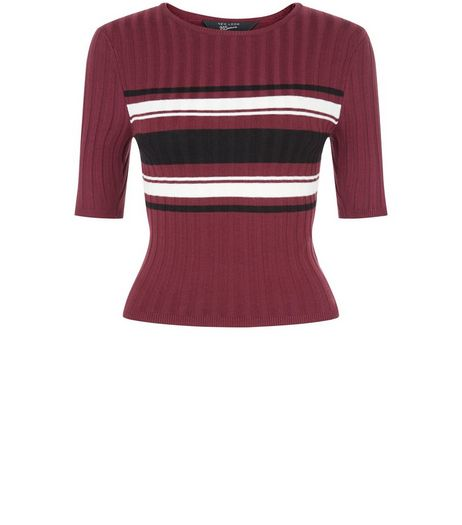 Teens Burgundy Stripe Ribbed 1/2 Sleeve Top  | New Look