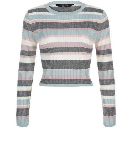 Teens White Stripe Crew Neck Jumper | New Look