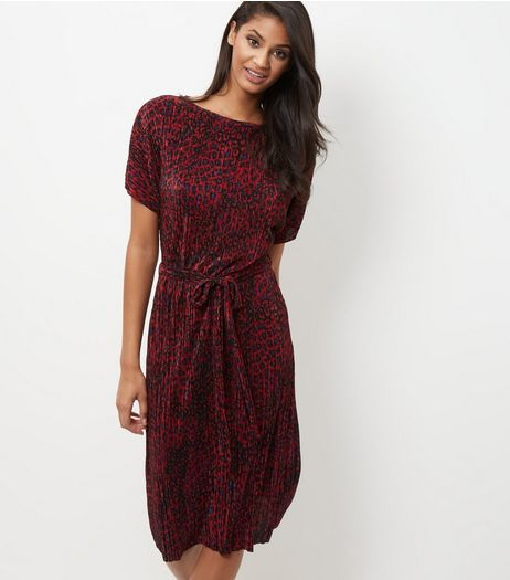 Red Animal Print Pleated Drawstring Waist Slip Dress  | New Look