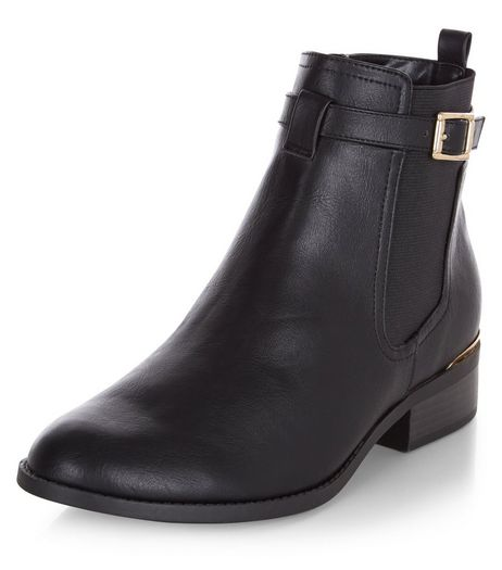 Black Buckle Strap Metal Trim Chelsea Boots | New Look