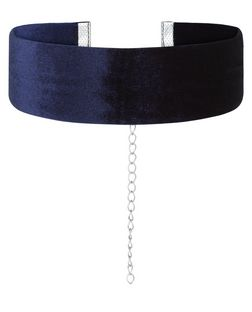 Navy Wide Velvet Choker | New Look
