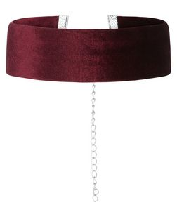 Burgundy Wide Velvet Choker | New Look