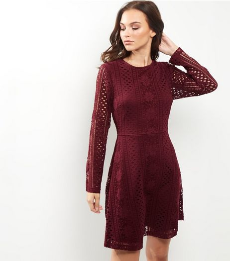 Burgundy Lace Long Sleeve Skater Dress | New Look