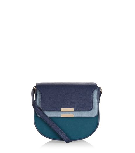 Blue Colour Block Shoulder Bag  | New Look