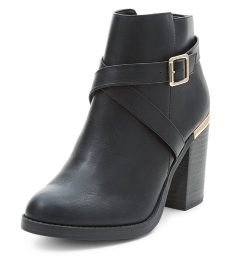 Black Cross Strap Block Heel Ankle Boots  | New Look