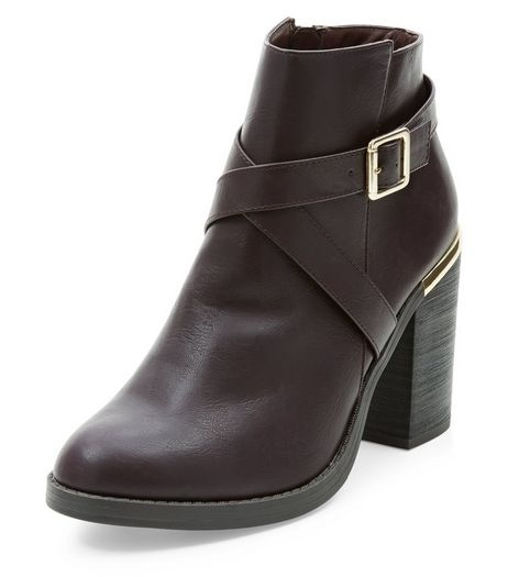 Dark Red Cross Strap Block Heel Ankle Boots  | New Look
