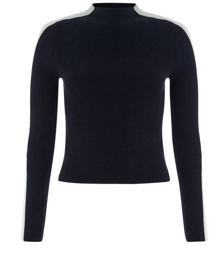 Teens Black Side Stripe Funnel Neck Top | New Look