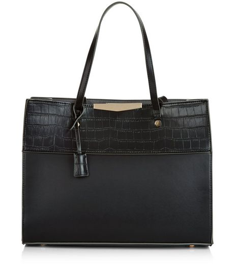 Black Snakeskin Textured Shopper Bag | New Look