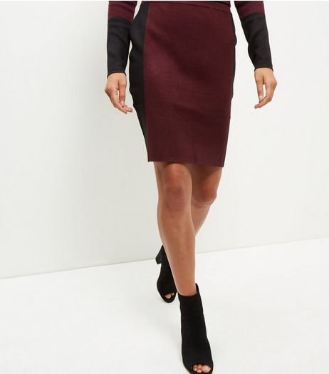 Burgundy Contrast Stripe Midi Skirt  | New Look