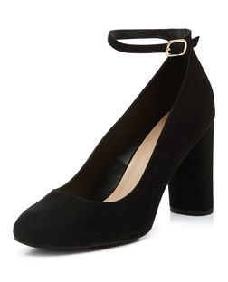 Black Suedette Ankle Strap Block Heels  | New Look