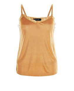 Bronze Lace Trim Cami  | New Look