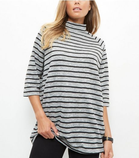 Grey Stripe Funnel Neck 3/4 Sleeve Oversized Top  | New Look