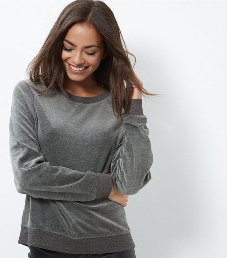 Dark Grey Velvet Sweater  | New Look