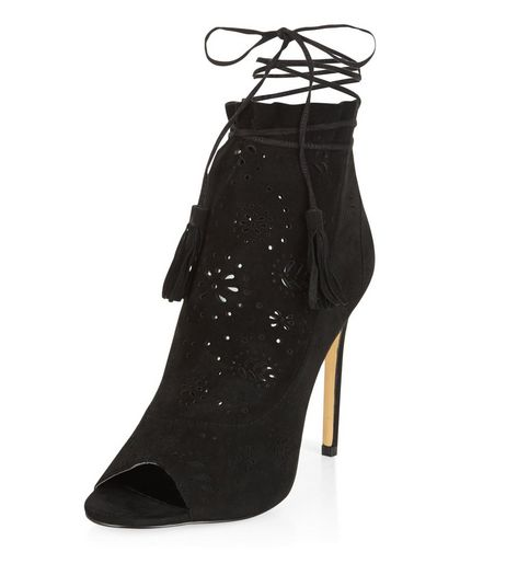 Black Premium Leather Laser Cut Out Peep Toe Heels | New Look
