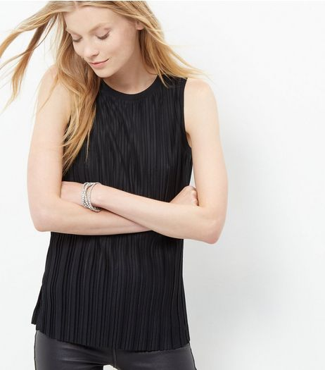 Black Pleated Sleeveless Top  | New Look