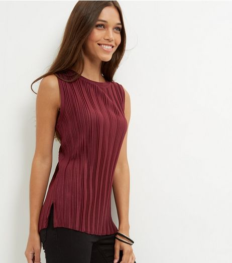 Burgundy Pleated Sleeveless Top | New Look