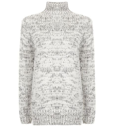 Teens White Funnel Neck Long Line Knitted Jumper | New Look