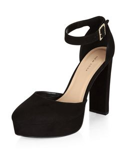 Black Suedette Platform Ankle Strap Heels  | New Look