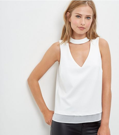 Cream Chiffon Choker Layered Top  | New Look