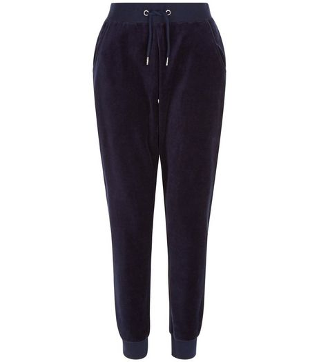 Navy Velour Joggers  | New Look