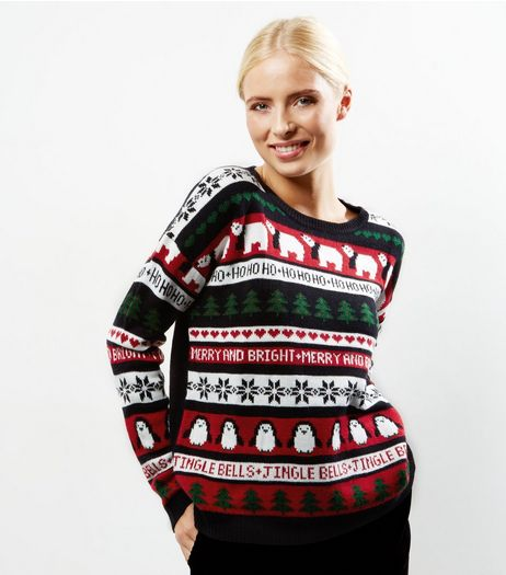 Black Long Sleeve Knitted Christmas Jumper  | New Look
