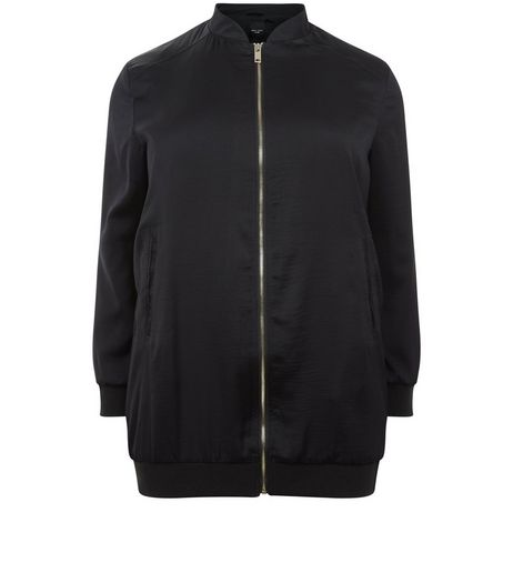 Curves Black Sateen Longline Bomber Jacket | New Look