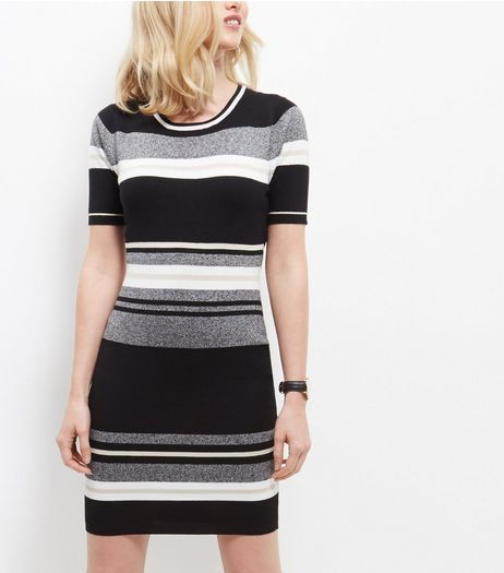 Black Stripe Short Sleeve Dress | New Look