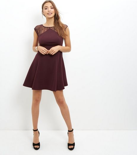 Burgundy Lace Panel Skater Dress  | New Look
