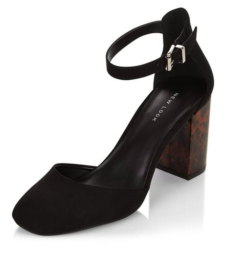 Black Suedette Ankle Strap Tortoiseshell Block Heels  | New Look
