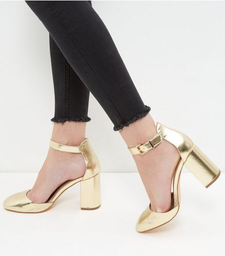 Gold Ankle Strap Block Heels  | New Look