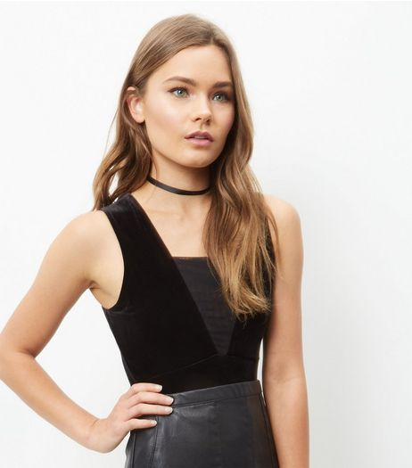 Black Velvet Mesh Panel Bodysuit | New Look