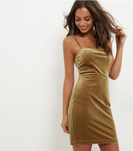 Olive Green Velvet Mini Dress | New Look