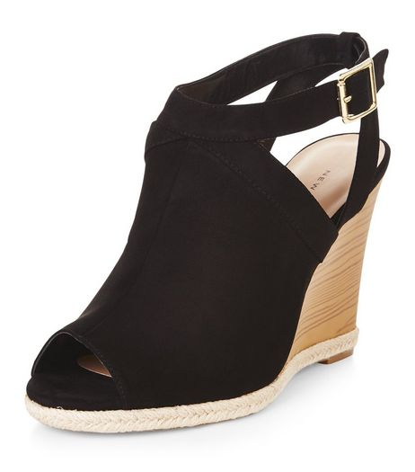 Black Suedette Peep Toe Wedges  | New Look